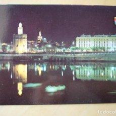 Postales: SEVILLA - TORRE DEL ORO ILUMINADA (ESCRITA). Lote 195410946