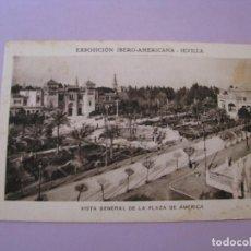 Postales: EXPOSICIÓN IBERO AMERICANA - SEVILLA. HUECOGRABADO MUMBRÚ. VISTA GENERAL DE LA PLAZA DE AMERICA.. Lote 195457577