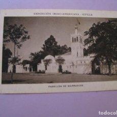 Postales: EXPOSICIÓN IBERO AMERICANA - SEVILLA. HUECOGRABADO MUMBRÚ. PABELLÓN DE MARRUECOS.. Lote 195457740