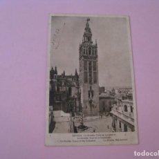 Postales: SEVILLA. LA GIRALDA: TORRE DE LA CATEDRAL. ED. HUECOGRABADO MUMBRU. CENSURA MILITAR MALAGA. 1937.. Lote 199192702