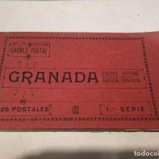 Postales: CARNET POSTAL GRANADA - 24 POSTALES (FALTA 1) - CIUDAD - CATEDRAL - CARTUJA - GENERALIFE. Lote 199372405