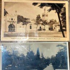 Postales: DOS POSTALES. SEVILLA PABELLON MARRUECOS 1929/ PLAZA DEL TRIUNFO. Lote 202371253