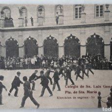 Postales: POSTAL COLEGIO LUIS GONZAGA EJERCICIO DE ESGRIMA PUERTO DE SANTA MARIA SIN CIRCULAR RARA. Lote 203334746