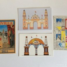 Postales: 4 POSTALES DE SEVILLA PORTADA DE FERIA Y FIESTAS PRIMAVERA. Lote 203977062