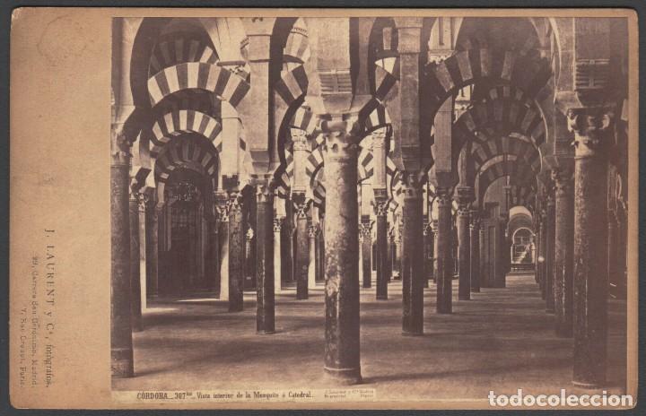 CÓRDOBA. 307 VISTA INTERIOR DE LA MEZQUITA O CATEDRAL. J. LAURENT. 10X15 CM FOTOGRAFÍA ALBÚMINA (Postales - España - Andalucía Antigua (hasta 1939))