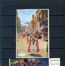 Postales: DOS POSTALES SEMANA SANTA DE MALAGA-CON PUBLICIDAD POR EL REVERSO FIRMA COMERCIAL DE MALAGA .. Lote 206425357