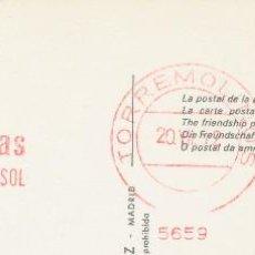 Postales: HOTEL LAS PALOMAS, TORREMOLINOS, MÁLAGA, NOMBRE DEL HOTEL ESTAMPILLADO EN POSTAL, 1965. Lote 206511688