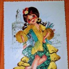 Postales: ANTIGUA TARJETA POSTAL BORDADA POSTALES ALCALÁ MADRID. ILUSTRACIÓN ISABEL. FORMATO : 10 X 14,5 CM.. Lote 206826830