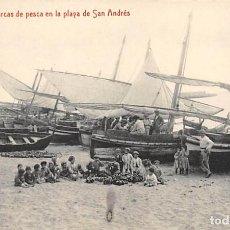 Postales: MÁLAGA.- BARCAS DE PESCA EN LA PLAYA DE SAN ANDRÉS. Lote 207168932