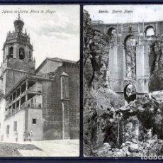 Postales: DOS POSTSLES DE RONDA(MALAGA)-IGLESIA DE STA.MARIA LA MAYOR Y PUENTE NUEVO EDICIÓN H.G.C. NUMERADA .. Lote 207258845