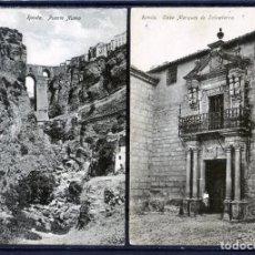Postales: DOS POSTALES DE RONDA(MALAGA)-PUENTE NUEVO Y CASA DEL MARQUES DE SALVATIERRA-EDICIÓN H.G.C.NUMERADA.. Lote 207259283
