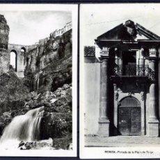 Postales: DOS POSTALES DE RONDA(MALAGA)-FOTOGRAFICAS-PUENTE NUEVO DEL TAJO Y CASCADA-PORTADA PLAZA DE TOROS .. Lote 207267350