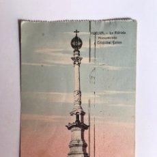 Postales: HUELVA, LA RABIDA. POSTAL COLOREADA MONUMENTO A CRISTÓBAL COLÓN. SELLO BARRADO REPUBLICA. Lote 208859707