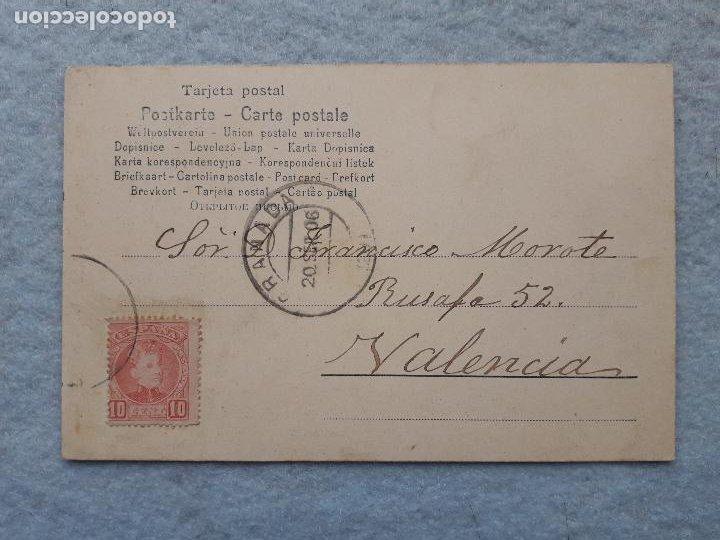 Postales: Costumbres Andaluzas. Niños con traje Típico. Franqueada el 20 de Septiembre de 1906. - Foto 2 - 210098687