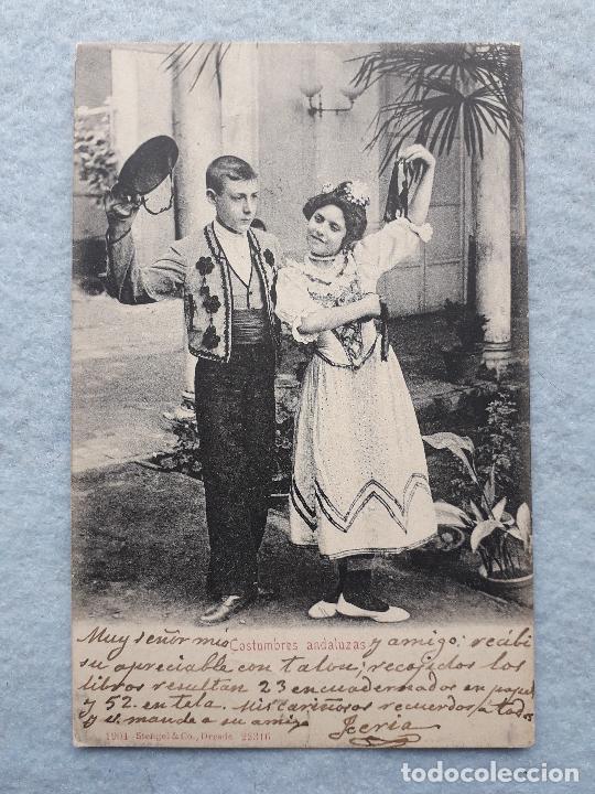 COSTUMBRES ANDALUZAS. NIÑOS CON TRAJE TÍPICO. FRANQUEADA EL 20 DE SEPTIEMBRE DE 1906. (Postales - España - Andalucía Antigua (hasta 1939))