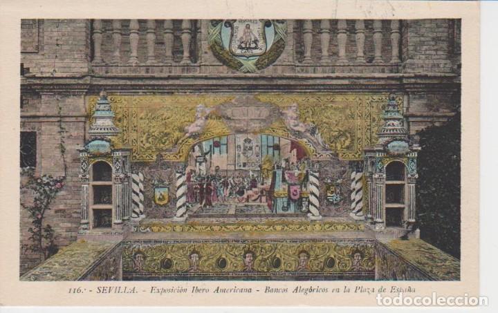 SEVILLA . EXPO. IBEROAMERICANA. BANCOS ALEGORICOS EN LA PLAZA DE ESPAÑA ... SIN CIRCULAR (Postales - España - Andalucía Antigua (hasta 1939))