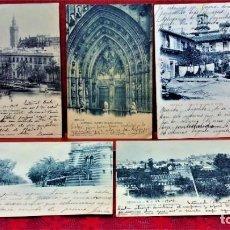 Postales: LOTE 5 POSTALES DE SEVILLA. HAUSER Y MENET. ENTRE 1903 A 1906.. Lote 213927328