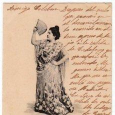 Postales: MAGNÍFICA POSTAL. MÁLAGA TIPO FLAMENCO COL MALAGUEÑA Nº 40 DORSO SIN DIVIDIR. CIRCULADA 1902 PT. Lote 214739701