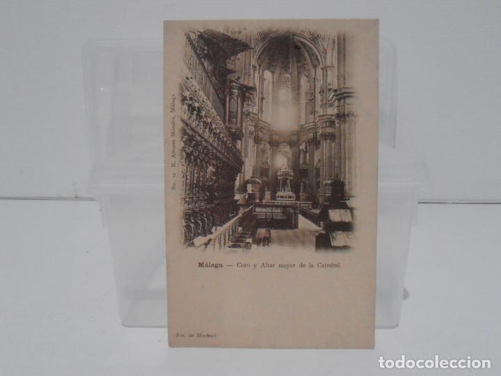 ANTIGUA POSTAL, MALAGA, CORO ALTAR MAYOR CATEDRAL R. ALVAREZ MORALES, FOT DE MUCHART, TARJETA POSTAL (Postales - España - Andalucía Antigua (hasta 1939))