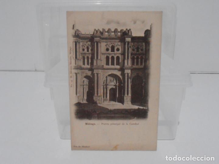 ANTIGUA POSTAL, MALAGA, PUERTA PRINCIPAL CATEDRAL R. ALVAREZ MORALES, FOT DE MUCHART, TARJETA POSTAL (Postales - España - Andalucía Antigua (hasta 1939))