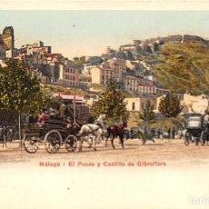 Postales: MÁLAGA.- EL PASEO Y CASTILLO DE GIBRALFARO. Lote 217786737