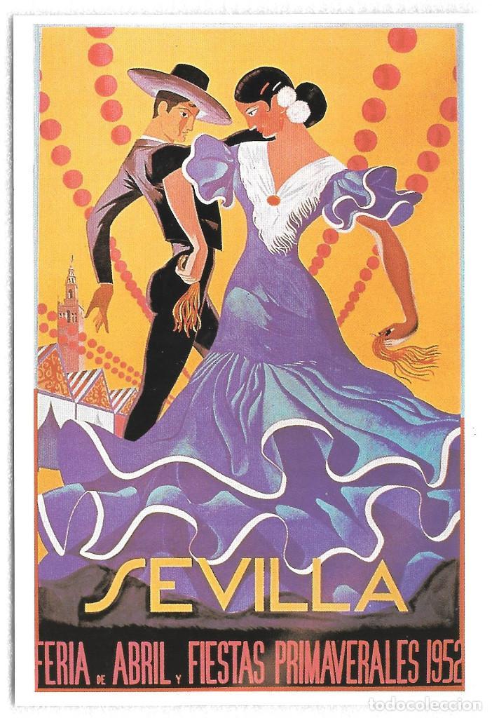TARJETA POSTAL. CARTEL ANTIGUO. SEVILLA FERIA DE ABRIL Y FIESTAS PRIMAVERALES 1952 (Postales - España - Andalucia Moderna (desde 1.940))