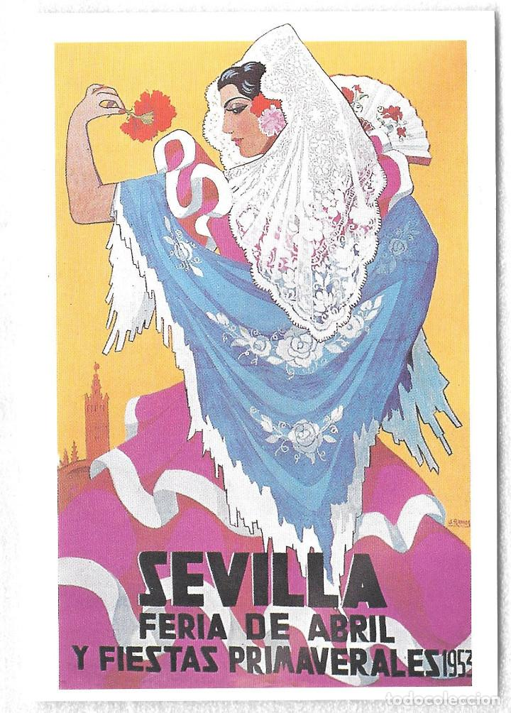 TARJETA POSTAL. CARTEL ANTIGUO. SEVILLA FERIA DE ABRIL Y FIESTAS PRIMAVERALES 1953 (Postales - España - Andalucia Moderna (desde 1.940))
