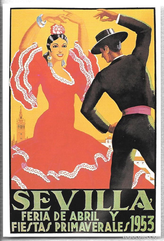 TARJETA POSTAL. CARTEL ANTIGUO. SEVILLA. FERIA DE ABRIL Y FIESTAS PRIMAVERALES. 1953 (Postales - España - Andalucia Moderna (desde 1.940))