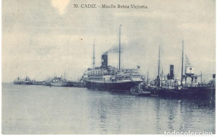 POSTAL - CADIZ,- MUELLE REINA VICTORIA. Nº 30 GRAFOS. (Postales - España - Andalucía Antigua (hasta 1939))