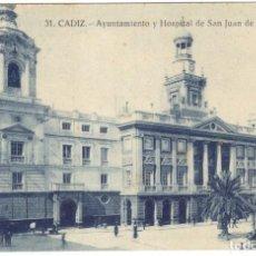 Postales: POSTAL - CADIZ,- AYUNTAMIENTO Y HOSPITAL DE SAN JUAN DE DIOS Nº 31 GRAFOS.. Lote 219716460