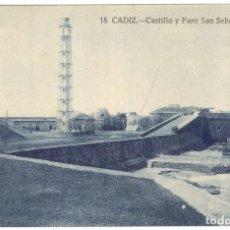 Postales: POSTAL - CADIZ - CASTILLO Y FARO SAN SEBASTIÁN Nº 18 GRAFOS.. Lote 219717435