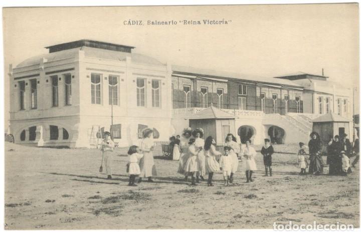 """POSTAL - CÁDIZ, BALNEARIO """" REINA VICTORIA """" HAUSER Y MENET, SIN CIRCULAR. (Postales - España - Andalucía Antigua (hasta 1939))"""