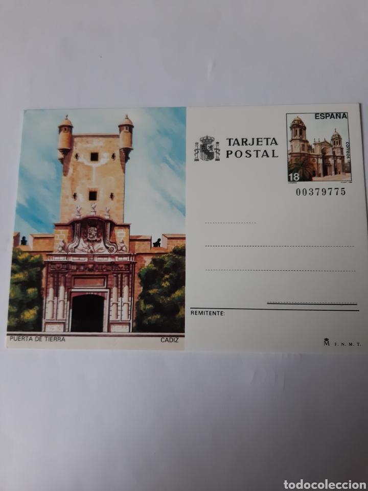 CÁDIZ PUERTA DE TIERRA ENTERO POSTAL EDIFIL 145 AÑO 1988 FILATELIA COLISEVM (Postales - España - Andalucia Moderna (desde 1.940))