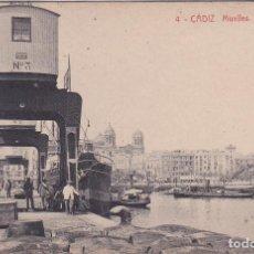 Postales: CADIZ - MUELLES - GRUAS ELECTRICAS. Lote 223984635