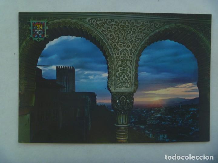 POSTAL DE GRANADA : LA ALHAMBRA , PUESTA DE SOL DESDE SALON EMBAJADORES (Postales - España - Andalucia Moderna (desde 1.940))