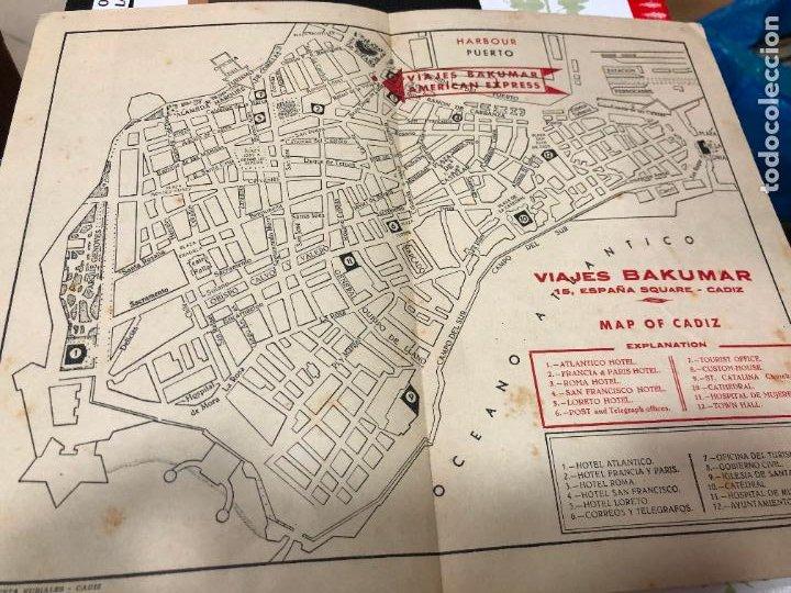 Postales: MAPA DE CADIZ VIAJES BACUMAR DONDE SE ECUENTRA SEÑALISADO TODOS LOS PUNTOS DE VISITAS DE LA CIUDAD - Foto 2 - 226920520