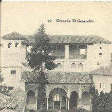 Postales: GRANADA. 20. EL GENERALIFE. HAUSER Y MENET. MADRID. BUEN ESTADO. 9X14 CM. 1901.. Lote 228804405