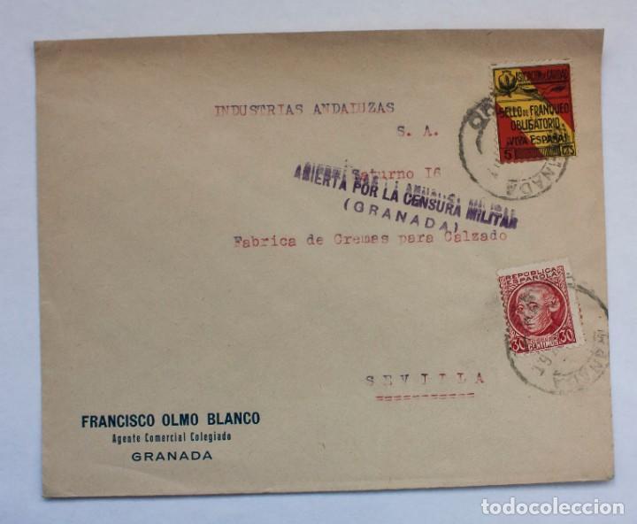 CARTA CON FRANQUEO SELLO Nº 686 30CTS. Y 5 CTS SW ASOC.DE LA CARIDAD VIVA ESPAÑ GRANADA SEVILLA 1934 (Postales - España - Andalucía Antigua (hasta 1939))