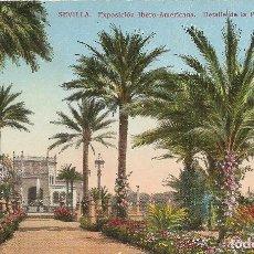 Postales: SEVILLA - EXPOSICION HISPANO AMERICANA - DETALLE DE LA PLAZA DE AMERICA. Lote 233824265