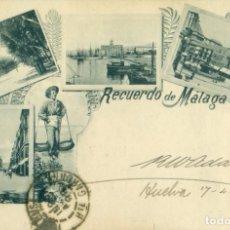Postales: RECUERDO DE MALAGA. CIRCULADA EN 1899 CON TRES PELONES.. Lote 233904865