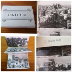 Postales: LOTE ALBUM DESPLEGABLE CON 18 POSTALES ANTIGUAS CÁDIZ EN BLANCO Y NEGRO - FOTOS. Lote 235057690