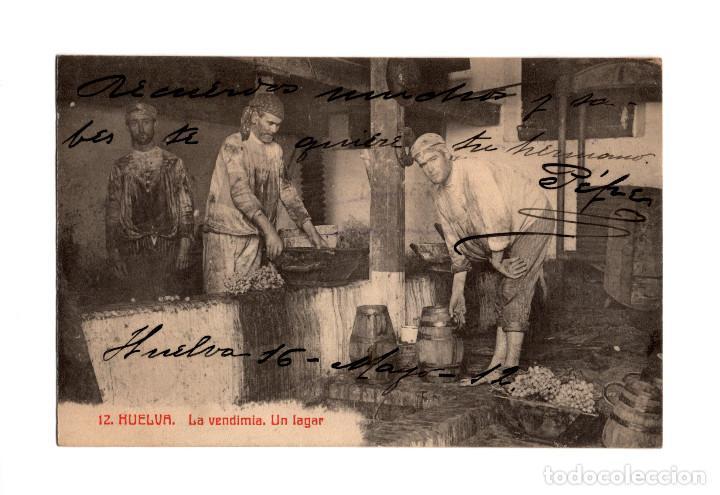 HUELVA.- LA VENDIMIA. UN LAGAR. PAPELERÍA INGLESA. (Postales - España - Andalucía Antigua (hasta 1939))