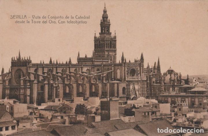 POSTAL SEVILLA - VISTA DE CONJUNTO DE LA CATEDRAL DESDE LA TORRE DEL ORO CON TELEOBJETIVO - MARGARA (Postales - España - Andalucía Antigua (hasta 1939))