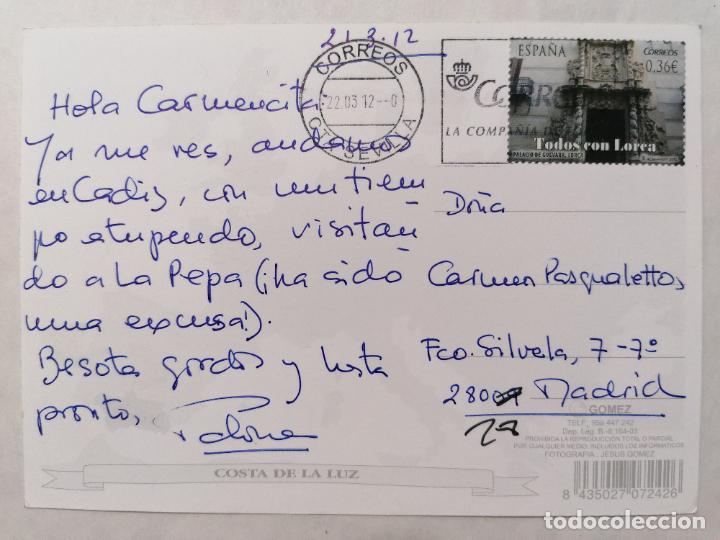 Postales: POSTAL CADIZ, COSTA DE LA LUZ, AÑO 2012 - Foto 2 - 244467130