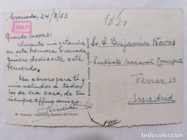 Postales: POSTAL GRANADA, GENERALIFE, EXTERIOR DEL PORTICO, AÑO 1953 - Foto 2 - 244467690