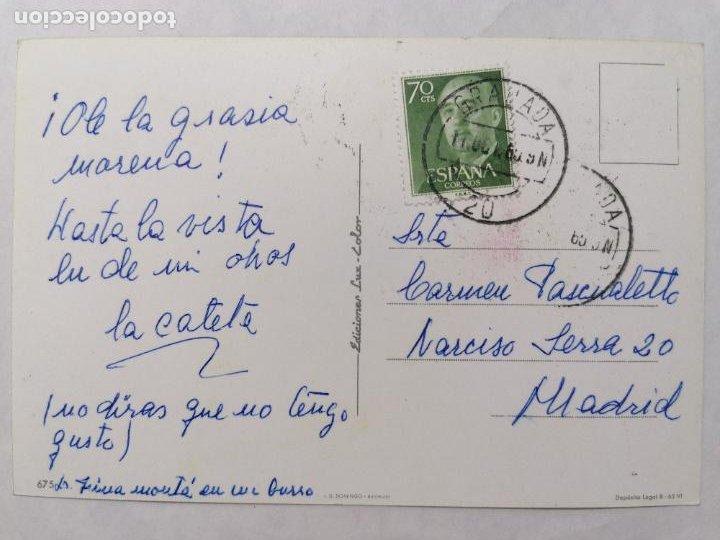 Postales: POSTAL SEÑORITA VESTIDA DE FLAMENCA, MONTADA EN UN BURRO - Foto 2 - 244530550