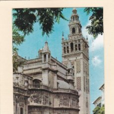Postales: POSTAL GIRALDA Y CATEDRAL. SEVILLA (1960). Lote 244612190