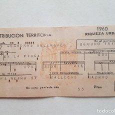 Postales: CONTRIBUCION TERRITORIAL FRANQUISTA VALLECAS MADRID AÑOS 60. Lote 248448845