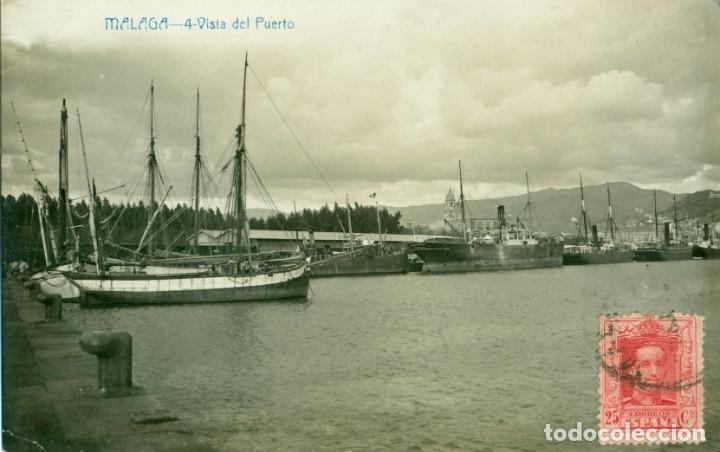 MALAGA VISTA DEL PUERTO. CIRCULADA EN 1925. PUBLICIDAD HOTEL SIMON. ANDRÉS FABERT. FOTOGRÁFICA. (Postales - España - Andalucía Antigua (hasta 1939))