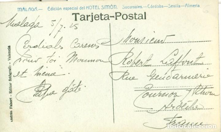 Postales: MALAGA VISTA DEL PUERTO. CIRCULADA EN 1925. PUBLICIDAD HOTEL SIMON. ANDRÉS FABERT. FOTOGRÁFICA. - Foto 2 - 253568860